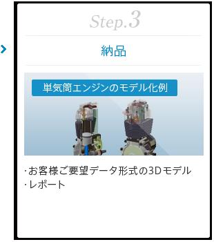Step.3 [納品] 「単気筒エンジンのモデル化例」 ・お客様ご要望データ形式の3Dモデル ・レポート