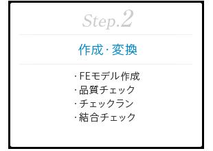 Step.2 [作成・変換] ・FEモデル作成 ・品質チェック ・チェックラン ・結合チェック